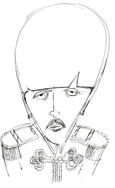 Sketch portrait of Paul McCartney in Sargeant Pepper days.  Illustration.